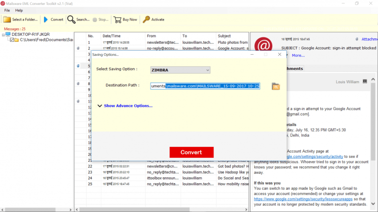 Import EML to Zimbra Desktop with the Official EML to Zimbra