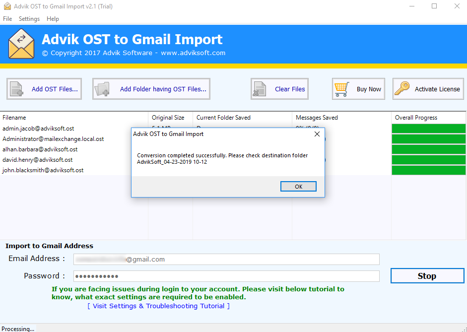 import ost to g suite