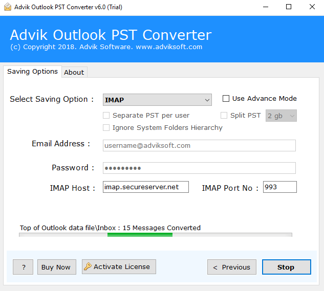 upload pst file in godaddy business account